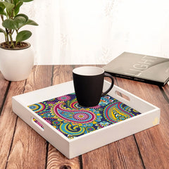 "Blue Paisley Serving Tray with Cutout Handles (Wood) 12""x12"""