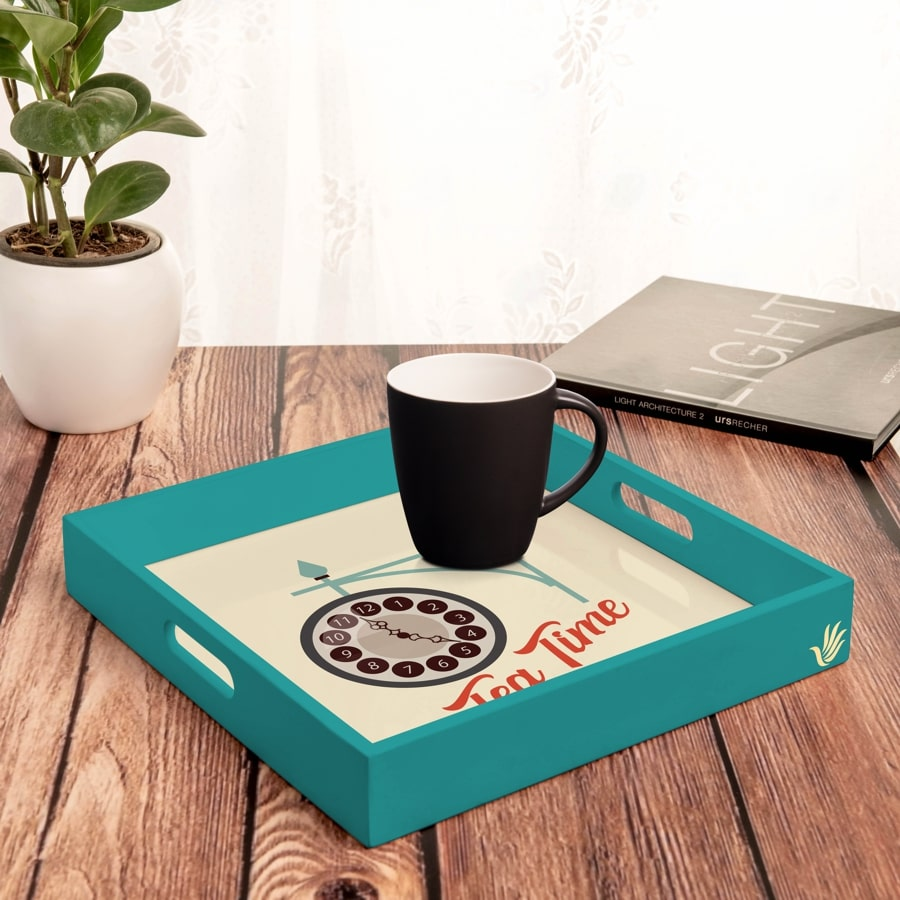 "Tea Time Serving Tray with Cutout Handles (Wood) 12""x12"""