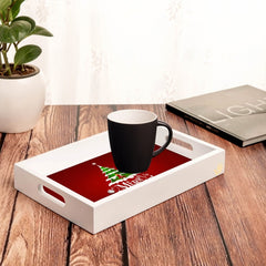 "Xmas Tree Serving Tray with Cutout Handles (Wood) 8""x12"""