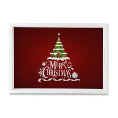"Xmas Tree Serving Tray with Cutout Handles (Wood) 10""x14"""