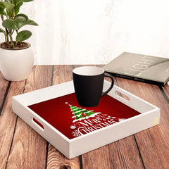 "Xmas Tree Serving Tray with Cutout Handles (Wood) 12""x12"""