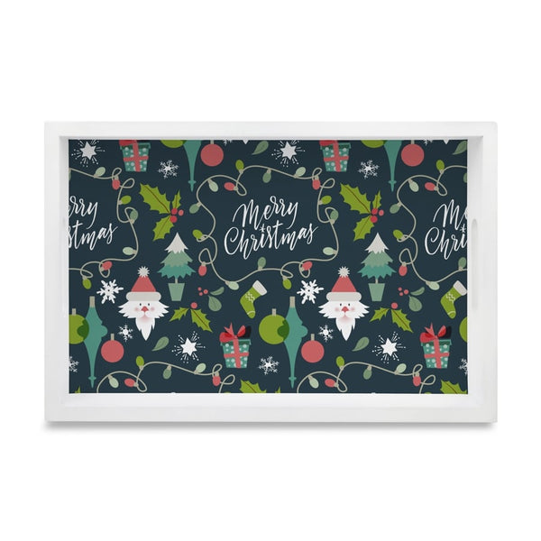 Xmas Allover2 Tray with Cutout Handles