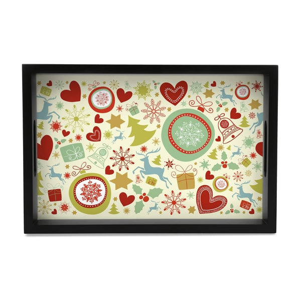 "Xmas Allover3 Serving Tray with Cutout Handles (Wood) 8""x12"""
