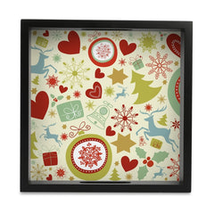 "Xmas Allover3 Serving Tray with Cutout Handles (Wood) 9""x 9"""