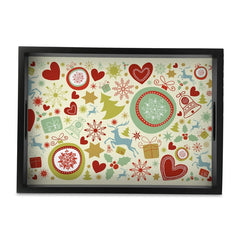 "Xmas Allover3 Serving Tray with Cutout Handles (Wood) 10""x14"""