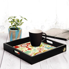 "Xmas Allover3 Serving Tray with Cutout Handles (Wood) 12""x12"""