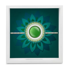 "Rakhi Pearls Green Serving Tray with Cutout Handles (Wood) 9""x 9"""