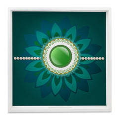 "Rakhi Pearls Green Serving Tray with Cutout Handles (Wood) 12""x12"""