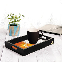 "Rakhee Orange Serving Tray with Cutout Handles (Wood) 8""x12"""