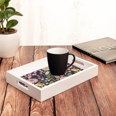 "Floral Daisy Serving Tray with Cutout Handles (Wood) 8""x12"""