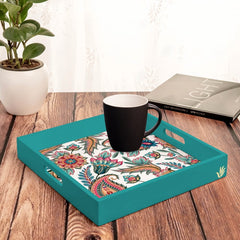 "Oriental Paisley White Serving Tray with Cutout Handles (Wood) 12""x12"""