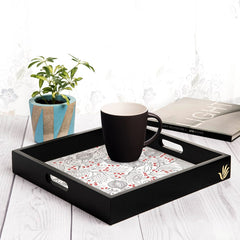 "Pomegranate Serving Tray with Cutout Handles (Wood) 12""x12"""