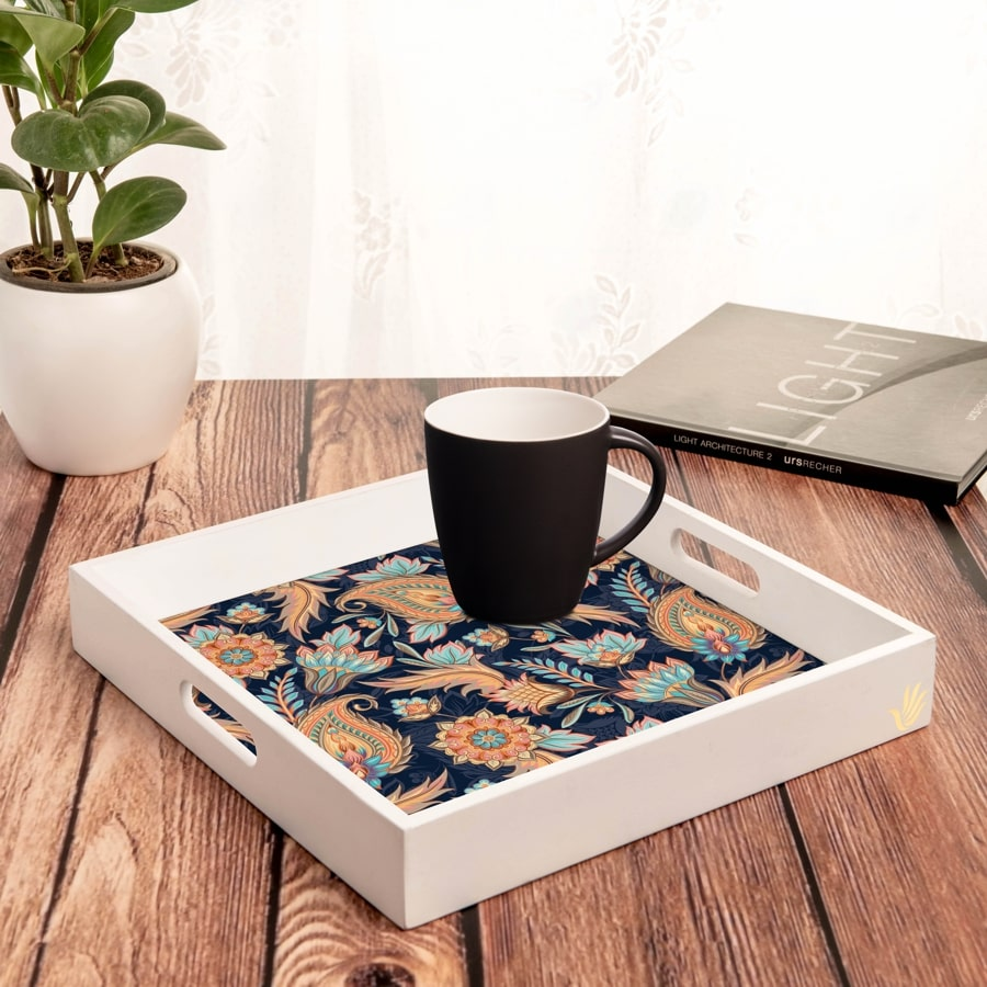 "Oriental Paisley Navy Serving Tray with Cutout Handles (Wood) 12""x12"""
