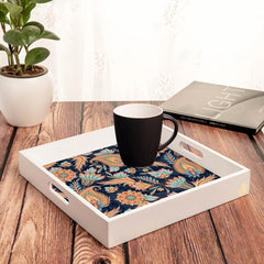 Oriental Paisley Navy Tray with Cutout Handles