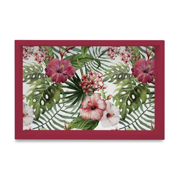 "Tropical Hibiscus-R Serving Tray with Cutout Handles (Wood) 8""x12"""