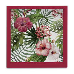 "Tropical Hibiscus-R Serving Tray with Cutout Handles (Wood) 9""x 9"""