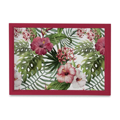 "Tropical Hibiscus-R Serving Tray with Cutout Handles (Wood) 10""x14"""