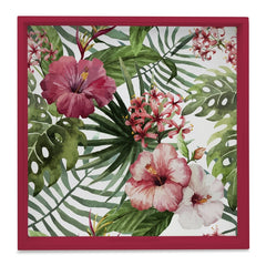 "Tropical Hibiscus-R Serving Tray with Cutout Handles (Wood) 12""x12"""