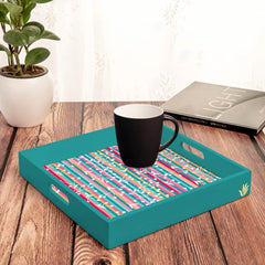 "Floral Stripes-T Serving Tray with Cutout Handles (Wood) 12""x12"""