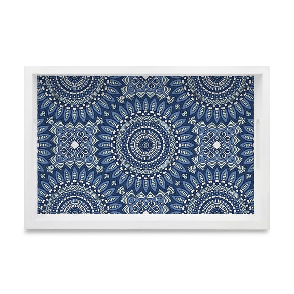 "Blue Mandala 2 Serving Tray with Cutout Handles (Wood) 8""x12"""