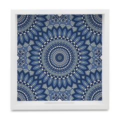 "Blue Mandala 2 Serving Tray with Cutout Handles (Wood) 9""x 9"""