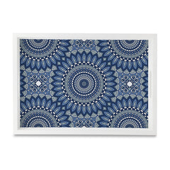 "Blue Mandala 2 Serving Tray with Cutout Handles (Wood) 10""x14"""