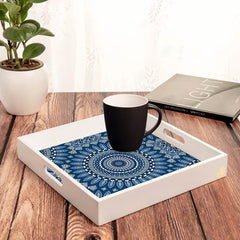 "Blue Mandala 2 Serving Tray with Cutout Handles (Wood) 12""x12"""