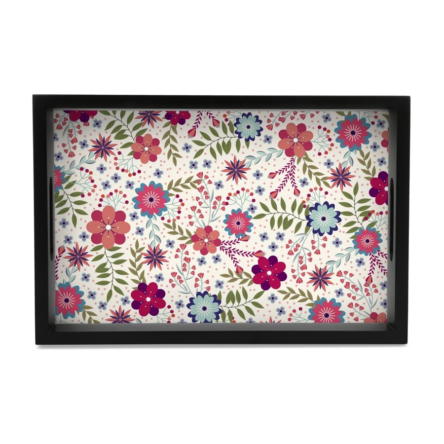 "Teen Floral Serving Tray with Cutout Handles (Wood) 8""x12"""