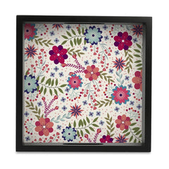 "Teen Floral Serving Tray with Cutout Handles (Wood) 9""x 9"""