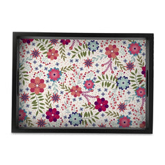 "Teen Floral Serving Tray with Cutout Handles (Wood) 10""x 14"""