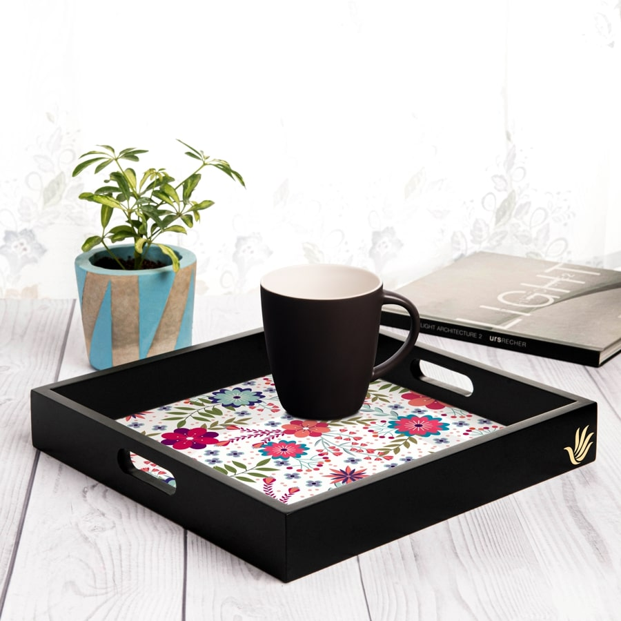 "Teen Floral Serving Tray with Cutout Handles (Wood) 12""x12"""