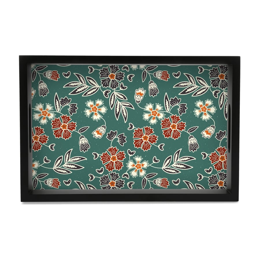 "Emerald Batik Serving Tray with Cutout Handles (Wood) 8""x12"""