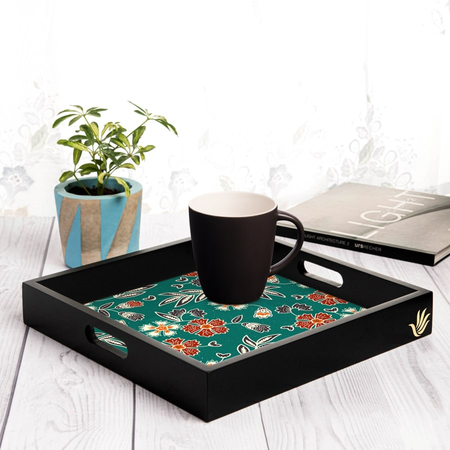 "Emerald Batik Serving Tray with Cutout Handles (Wood) 12""x12"""