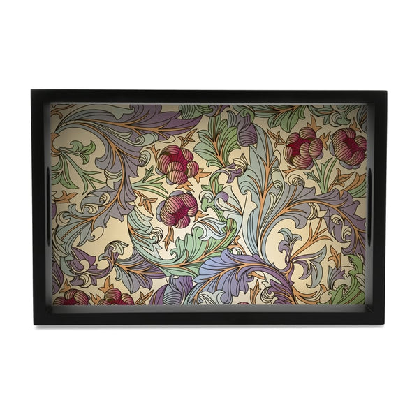 "Ornate Floral Serving Tray with Cutout Handles (Wood) 8""x12"""