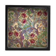"Ornate Floral Serving Tray with Cutout Handles (Wood) 9""x 9"""