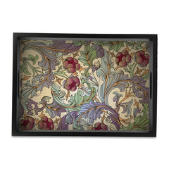 "Ornate Floral Serving Tray with Cutout Handles (Wood) 10""x14"""