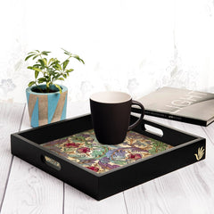 "Ornate Floral Serving Tray with Cutout Handles (Wood) 12""x12"""