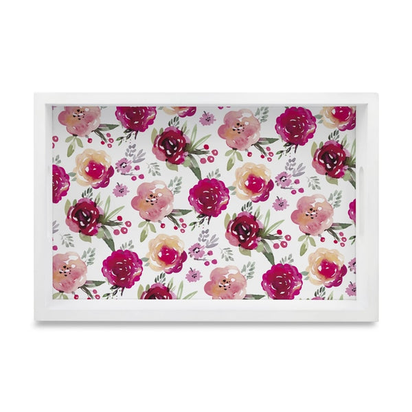 "Pink Flowers Serving Tray with Cutout Handles (Wood) 8""x12"""