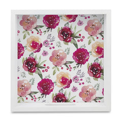 "Pink Flowers Serving Tray with Cutout Handles (Wood) 9""x 9"""