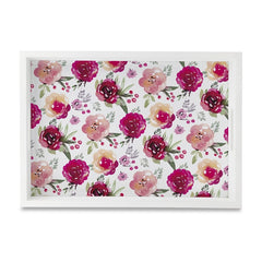 "Pink Flowers Serving Tray with Cutout Handles (Wood) 10""x 14"""