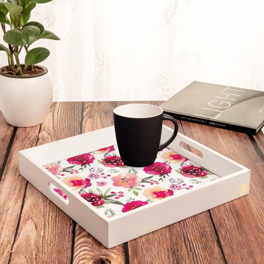 "Pink Flowers Serving Tray with Cutout Handles (Wood) 12""x12"""