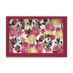 "Ava Floral-R Serving Tray with Cutout Handles (Wood) 8""x12"""