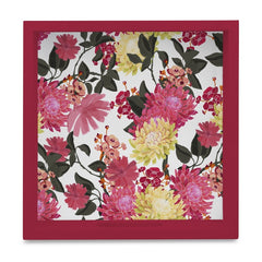 "Ava Floral-R Serving Tray with Cutout Handles (Wood) 9""x 9"""