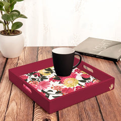 "Ava Floral-R Serving Tray with Cutout Handles (Wood) 12""x12"""