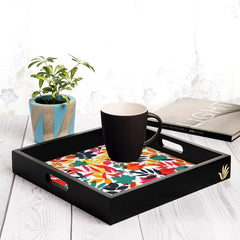 "Autumn Leaves Serving Tray with Cutout Handles (Wood) 12""x12"""