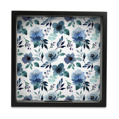 Indigo Flowers Tray with Cutout Handles