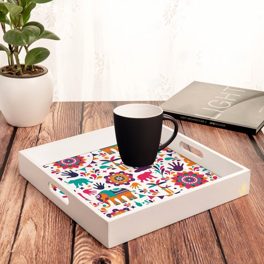 "India Serving Tray with Cutout Handles (Wood) 12""x12"""