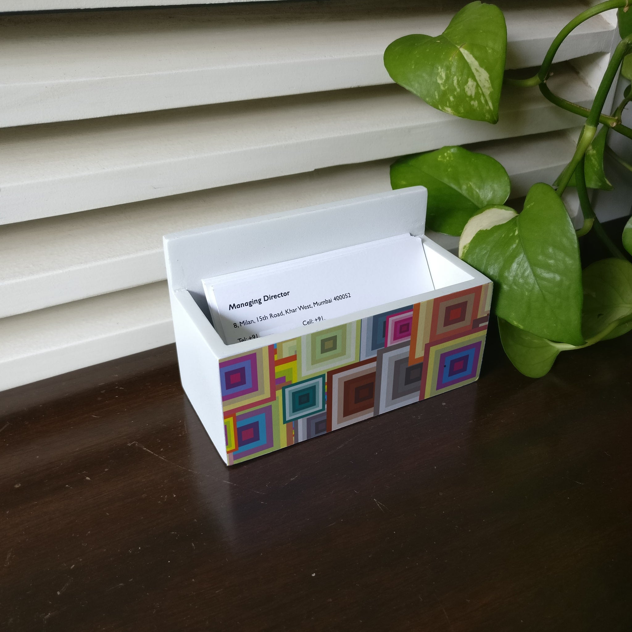 Colourful Squares Visiting Card Holder