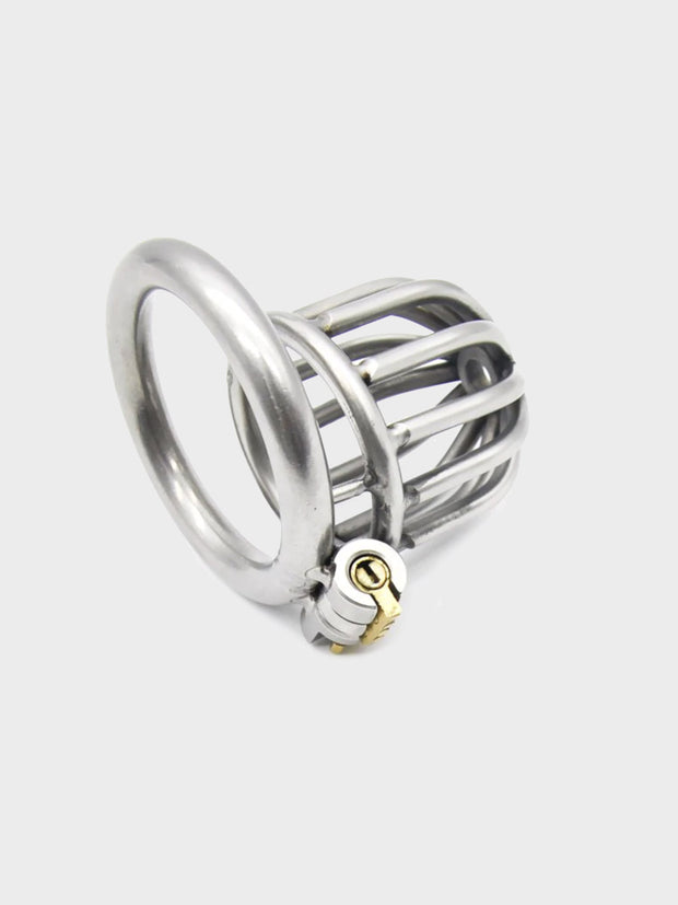 This chastity cage is quite short and popular with male submissives.