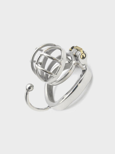 A short chastity cage with ball divider ring